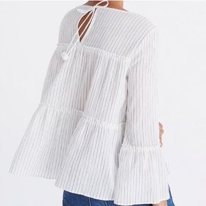 Madewell Tiered Top with Pom Pom Tassels